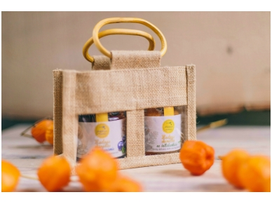 Bee products in jute bag (2 jars)