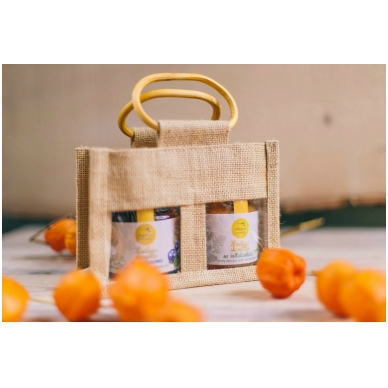 Bičių produktų rinkinukas džiuto krepšelyje