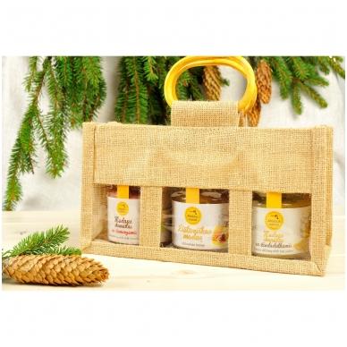 Bičių produktų rinkinys džiuto krepšelyje