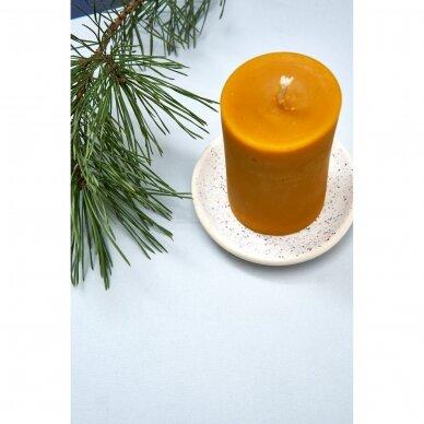 Keraminė lėkštelė žvakei (balta su taškeliais) 2