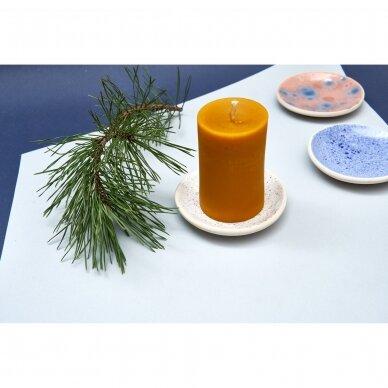 Keraminė lėkštelė žvakei (melsva su taškeliais) 2