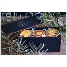 Medaus produktų rinkinys medinėje dovanų dėžutėje (juodos sp.)
