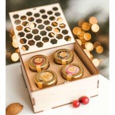 Medaus skanėstų rinkinys dėžutėje su koriu (4 x 50 g)
