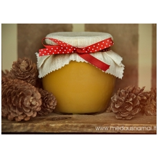 Medus, papuoštas balta drobe ir juostele su taškeliais, 700 g