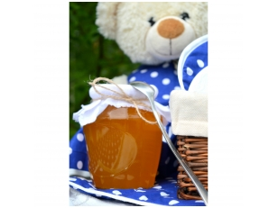 Honey jar decorated with white linen and jute ribbon, 1 kg