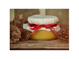 Honey pot decorated with linen and red ribbon with stripes, 400 g