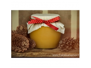 Honey pot decorated with linen and red ribbon with dots, 700 g