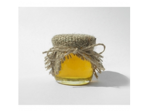 Honey jar decorated with jute