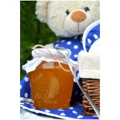 Medus, dekoruotas balta drobe ir džiuto virvute, 1 kg