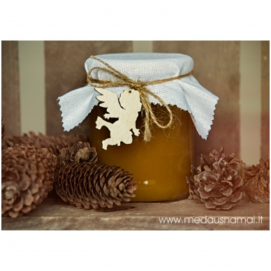 Medus, papuoštas drobe ir mediniu pakabučiu, 700 g