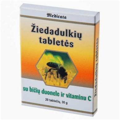 Žiedadulkių tabletės su bičių duona ir vitaminu C (imunitetui)