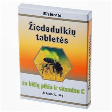 Žiedadulkių tabletės su bičių pikiu ir vitaminu C (imunitetui)